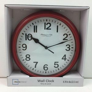 Red Kitchen Wall Clock Plastic Analog Battery